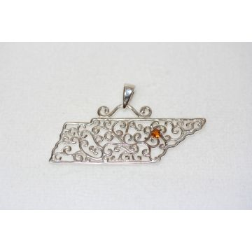 Southern Gates Sterling Silver Tennessee Scroll Pendant With One Round Citrine