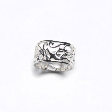 Southern Gates Sterling Silver Retired Bird Design Wide Band Ring Size 7