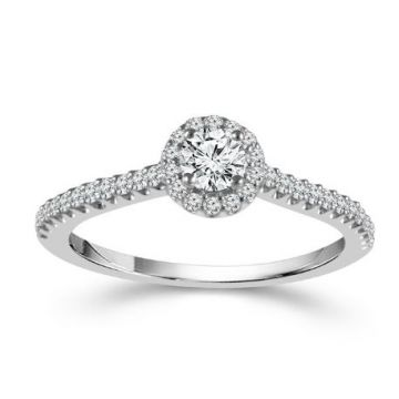 Lady's White 14 Karat Round Halo Engagement Ring