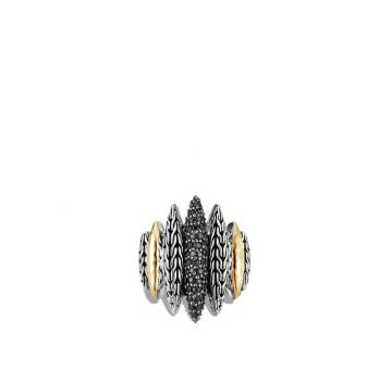 John Hardy WOMEN's Classic Chain Hammered 18k Gold Silver Spear Ring with Black Sapphire and Black Spinel, Size 7