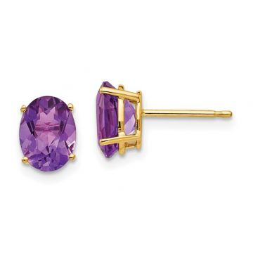 Lady's Yellow Polished 14 Karat Stud Earrings with Oval Amethysts
