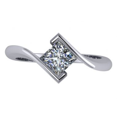 Ladies Bypass Bezel Set Diamond Solitaire Ring