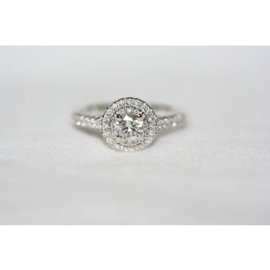 Lady's White 18 Karat Double Halo Engagement Ring