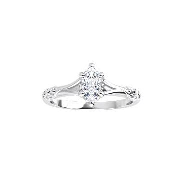 Lady's White 14 Karat Scroll Vintage Style Solitaire Engagement Ring