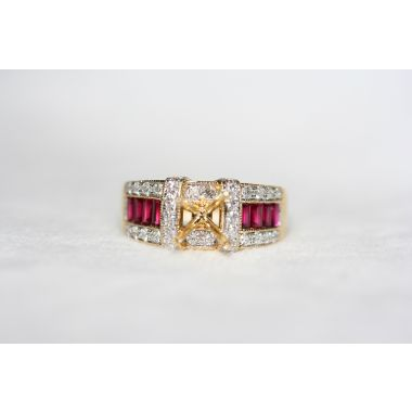 Nelson Three Row Ruby Engagement Ring