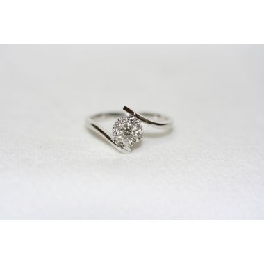 Lady's White 18K Bypass Engagement Ring
