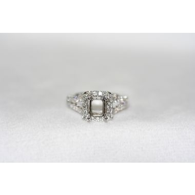 Lydia Split Shank Emerald Cut Halo Ring