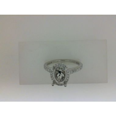 Nelson Lady's White 18 Karat Oval Halo Ring