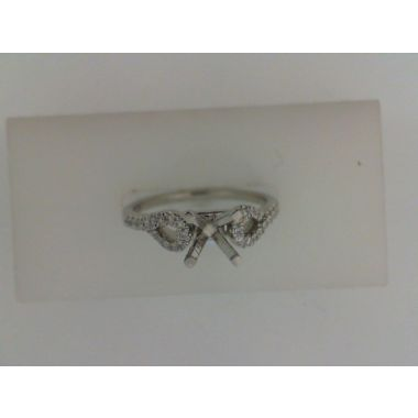 Lady's White 18 Karat Pear Frame Side Ring