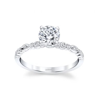 Coast Diamond 14k White Gold Diamond Alternating Round and Marquise Engagement Ring