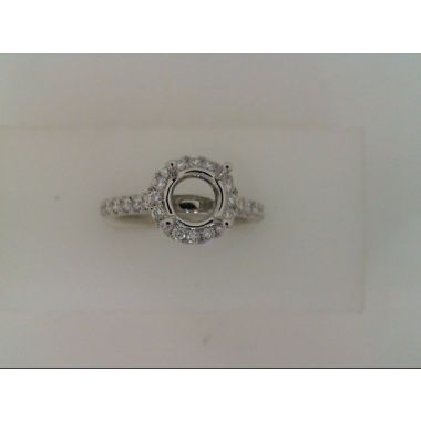 Nelson Lady's White 18 Karat Round Halo Ring