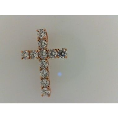 Nelson Lady's Rosé 18 Karat Diamond Cross Slide Pendant