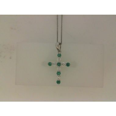 Nelson Emerald And Diamond Cross Necklace