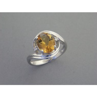 Lady's White 14K Bypass Fashion Ring