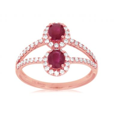 Lady's Rosé 14 Karat Split Shank Double Ruby Fashion Ring
