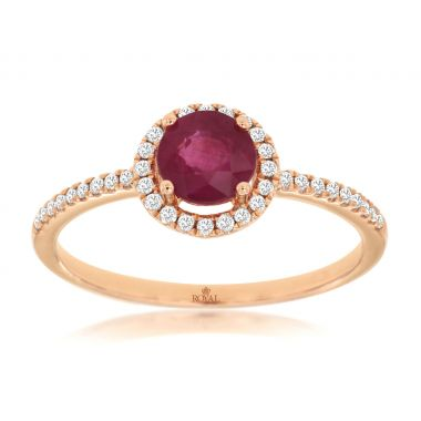 Lady's Rosé 14 Karat Round Halo Fashion Ring