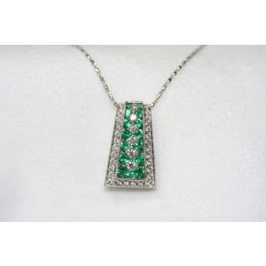 Lydia Tapered Sides Emerald Pendant