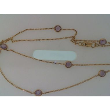 Lady's Yellow 14 Karat Stationed Bezel Set Amethyst Necklace Length 16