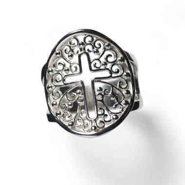 Southern Gates White Sterling Silver Filigree Inspiration Cross Ring Ring Size 7