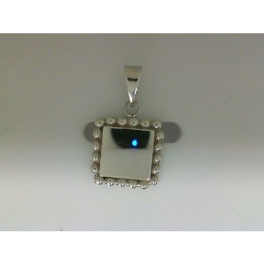 Sterling Silver Square Bead Trim Pendant