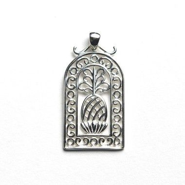 Southern Gates Sterling Silver Low Country Pineapple Dome Pendant