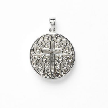 Southern Gates White Sterling Silver Double Sided Round Tree and Cross Pendant