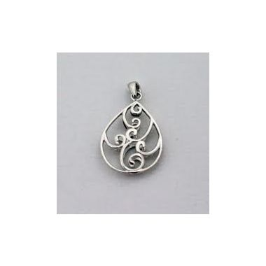Southern Gates Sterling Silver Scroll Pear Pendant