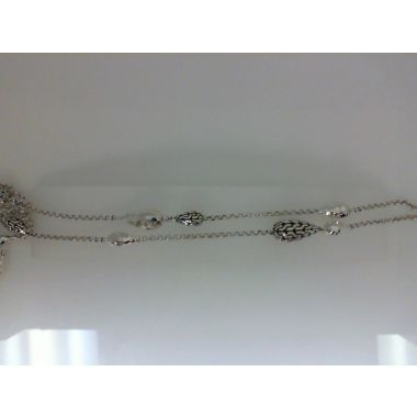 WOMEN's Classic Chain Hammered Silver Necklace, Size 36