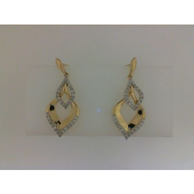 Nelson Lady's Yellow Polished 18 Karat Contemporary Drop Earrings