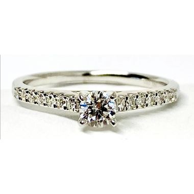 Nelson Lady's White 18 Karat Cathedral Engagement Ring