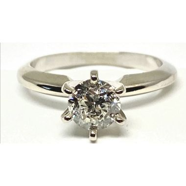 Lady's White Polished 14 Karat 6 Prong Solitaire Engagement Ring