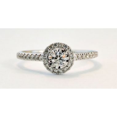Nelson Lady's White 18 Karat Halo Engagement Ring