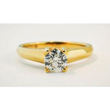 Nelson Lady's Yellow 18 Karat Knife-Edge Cathedral Solitaire Engagement Ring