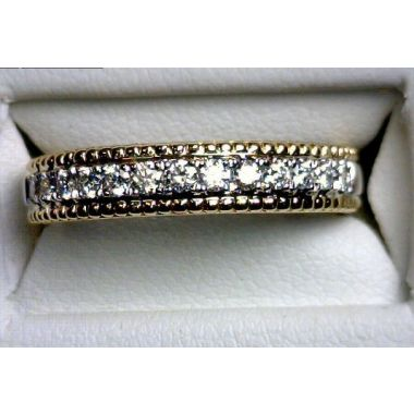 Lady's Two-Tone 18 Karat Beaded Edges Prong-Set Wedding/Anniversary Ring