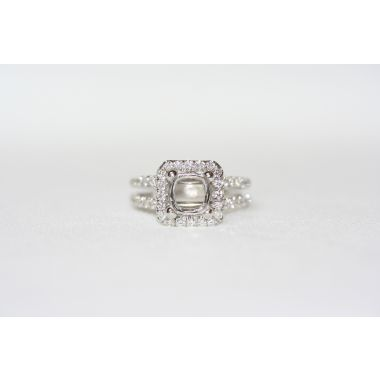 Lydia Split Shank Square Halo Engagement Ring