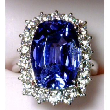 "Lady's Platinum ""Lady Diane/Katherine"" Fashion Ring With One 13.20Ct Retangular Cushion Slightly Grayish Violetish Blue Natural No-Heat Sapphire"