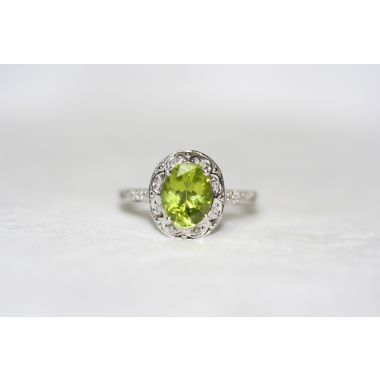 Vintage Halo Peridot Ring