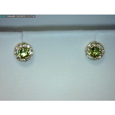 Lady's Yellow 14 Karat Cluster Earrings