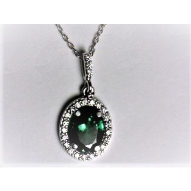 Ladies Tsavorite Garnet and Diamond Halo Pendant Necklace