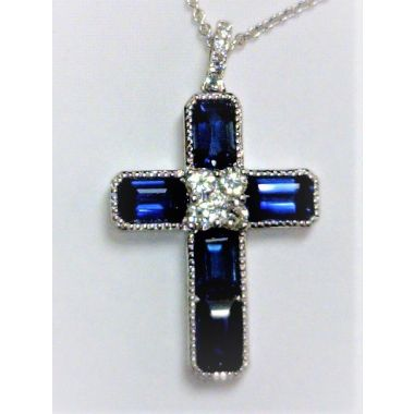 Elegant Emerald Sapphire And Diamond Cross Pendant Necklace