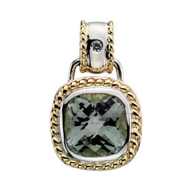Lady's Two-Tone 14 Karat Rope Bezel Pendants