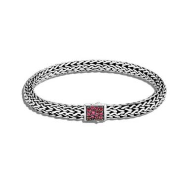 WOMEN's Classic Chain Silver Small Reversible Bracelet 6.5mm with Pusher Clasp with Black Sapphire and African Ruby, Size M