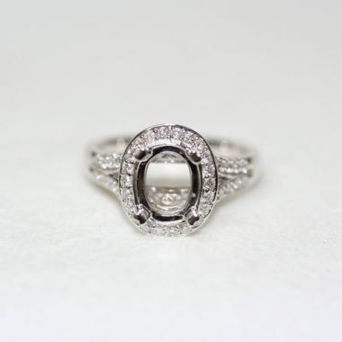 Nelson Split Shank Oval Halo Engagement Ring