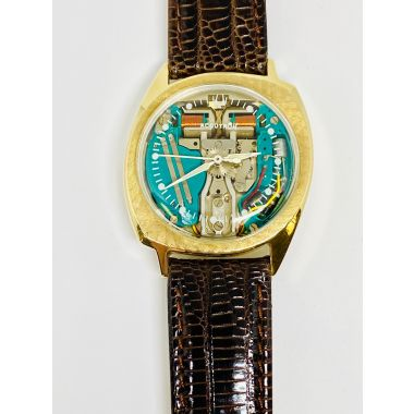 Estate Accutron Wristwatch, Spaceview Model 218, cir 1969, 14KY case, brown leather band and original box.