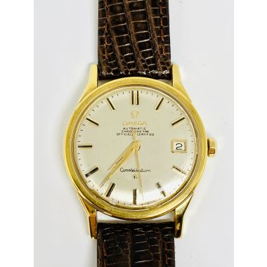 Gents Yellow 18 Karat Silver Dial Omega Constellation Estate Watch with Di Modell Genuine Teju Lizard brown band