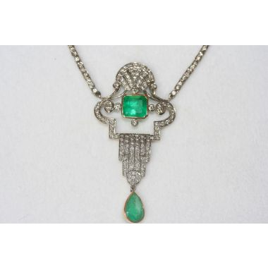 Estate Emerald and Diamond Necklace