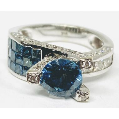 Estate Blue and White Diamond Fashion Ring