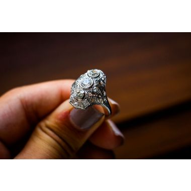 Estate Domed Three Stone Ring