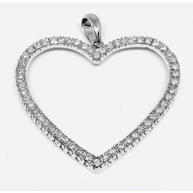 Estate Ladies Diamond Open Heart Pendant