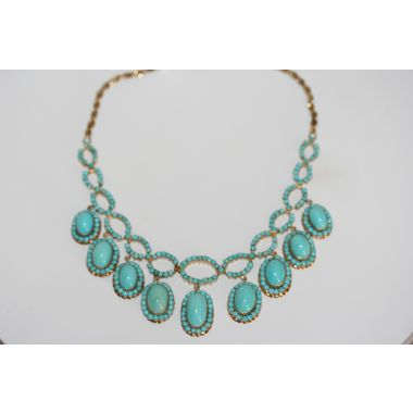 Estate Turquoise Beaded Choker Necklace